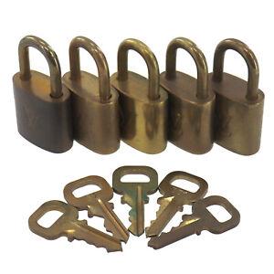 LOUIS VUITTON LV Logos Used Padlock Key Set of 5 Gold-Tone France Vintage #BA925