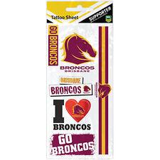 Brisbane Broncos NRL Temporary TATTOO Sheet individual tattoos Christmas Gift