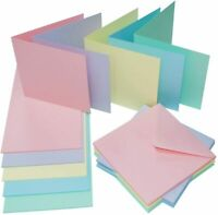 "40 Assorted Pastel Colour 6 x 6"" Blank Cards & Envelopes Square Card Making 2308"
