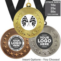 MOTOR RACING METAL MEDALS 50mm, PACK OF 10 RIBBONS INSERTS OWN LOGO WITH TEXT