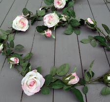 Artificial 180cm Rose Silk Flower Garlands - Pink and Ivory