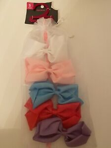 """Girls 5"""" Hair Bows Clips Solid Colors Pack of 5 Various Colors NEW A38"""