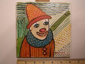 "Jack Savitsky signed 6"" x 6"" oil on tile titled "" Clown "" dated 1978"
