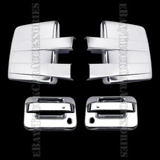 Chrome Covers For FORD F150 2009-2013 2014 Full Towing Mirrors+2 Door Handles PK