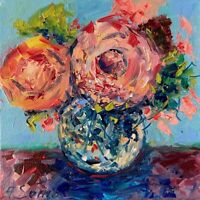 Flowers in Vase Landscape Oil Painting Impressionism Texture Modern Collectable