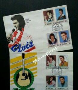 [SJ] St.Vincent Elvis Presley 1987 Singer Artist Famous Song (FDC pair *see scan