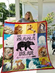 Mama Bear Gift For Mother Valentine Day Quilt Blanket Gift For Mom