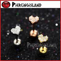 Mini Diamond Heart Ear Cartilage Helix Tragus Stud Ring Bar Piercing Earring 1PC