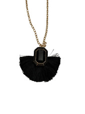 Sugarfix by Baublebar Long Black Tassel Gem Pendant Adjustable Necklace New