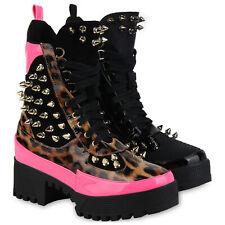 Damen Stiefeletten Plateau Boots Punk Stiefel Nieten Schnürboots 832131 Schuhe