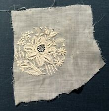 Antique Handmade Whitework Embroidery Motif Fragment Lace Craft Dolls