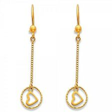 14K Yellow Gold Round Heart Circle Long Dangle Hanging Hook Earrings