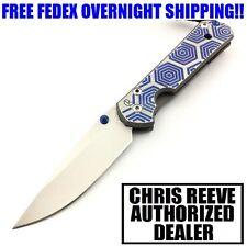 CHRIS REEVE SMALL SEBENZA 21 TITANIUM W/ CGG HEX BLUE CPM-S35VN STEEL KNIFE NIB