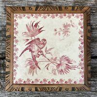 Dessous de Plat Sarreguemines Terre De Fer Oiseau Fleur Rose Vaisselle Ancienne