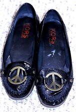 Michael Kors 7.5 M Women's Peace Sign Black Patent leather Slip On Flats Shoes