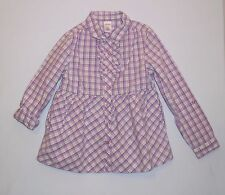 """Gymboree """"Sunflower Smiles"""" Ruffled Purple Green White Plaid Button Front Top, 8"""