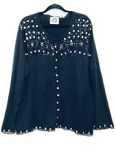 Storybook Knits HSN Beaded Julliette Cardigan Sweater Plus Size 3X Womens Black