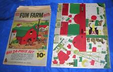 Vtg 1940S Reed Assoc Die Cut Cardboard Toy 24 Pc Fun Farm Xmas Putz Village iop