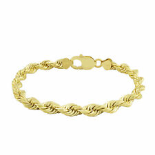Real Oro Amarillo 10k 6 mm Genuino Italiano Diamante Corte Soga Cadena Enlace Pulsera 8""