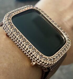 Apple Watch Series 4/5/6 Bezel Face Case Cover Lt Brown Zirconia Rose Gold 40 mm