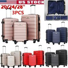 3Pcs Travel ABS Luggage Set Trolley Spinner Suitcase Bag W/Lock 20/24/28
