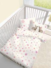 Baby Bettwäsche 100x135 cm Hasen weiß rosa Kinder Fein Biber Baumwolle B-Ware