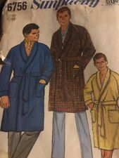 Simplicity Vintage Pattern 6756 from 1966 Men's Classic Robe Large 42-44