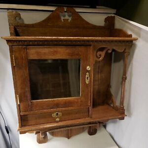 L@@K Beautiful Antique Oak Finish Wood Bathroom Medicine Vanity Cabinet  L@@K