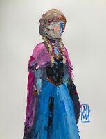 "ORIGINAL Abstract Disney Princess Anna Frozen Impasto Art Painting 12x16"""