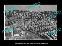 OLD LARGE HISTORIC PHOTO OF SHANKLIN ISLE OF WIGHT TOWN AERIAL VIEW c1930 1