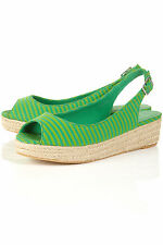 TOPSHOP HARI stripe espadrille wedges UK 6 in Green - New