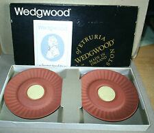 Wedgwood Jasperware Terracotta Yellow Pair Teachers Whisky Dishes