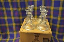 """Boxed Set of Four Home Interiors 4"""" 1137 Bd Clear Glass Candle Holders"""