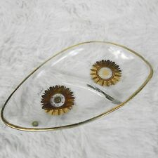 Vintage Georges Briard Mid Century Divided Candy Trinket Dish Gold Medallion MCM