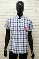 Camicia FRANK FERRY Uomo Taglia L Maglia Shirt Cotone Blu Manica Corta a Quadri