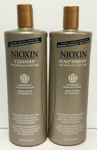 Nioxin Cleanser & Scalp Therapy System 7 for Medium/Coarse Hair - 33.8 floz each