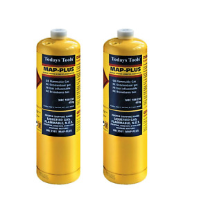 2x Yellow MAPP Gas Cylinder 453g Disposable Bottle Todays Tool