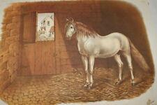 LE CHEVAL DE CARROSSE GRAVURE COULEURS 1882 AC21