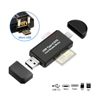 ✅3 IN 1 Type C Micro USB OTG Adapter SD TF Card Reader f. Samsung iPhone MacBook