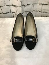 BANDOLINO Women Black 7M Shoes slip-on loafers suede Buckle Flat heels BD7NYREE