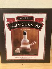 New Williams Sonoma Hot Chocolate Pot with Frother Glass Pot In Box