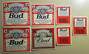 BUDWEISER. BUD SET OF 7 DIFFERENT BEER LABELS FROM SPAIN. MINT CONDITION (1)