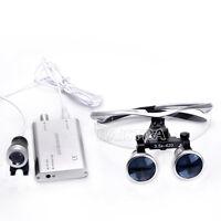 GER 1 Kit Dental Silver Medical Binocular Loupes 3.5X 420mm &LED Head Light Lamp