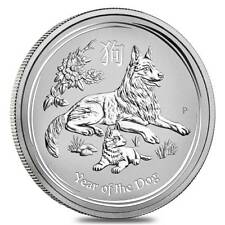 Australia Lunar Dog 2018 2 Dollar 2 OZ (62,30 gr.) Argento 999 Silver CAPSULA