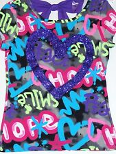 NWT JUSTICE GIRLS GRAFFITI HEART TEE T PURPLE BOW IN BACK 7 GLITTER HEART
