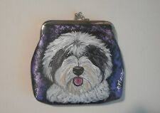 Old English Sheepdog Leather Clutch Coin Purse Mini wallet for Women Girls Vegan