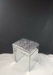 💖Crushed Velvet dressing table mirrored stool