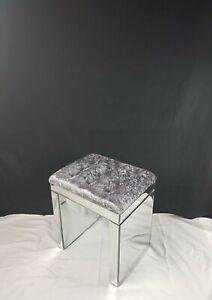 💖Crushed Velvet dressing table mirrored stool
