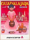 Guadalajara Mexico Little Girl Mexicana Mexican Travel Advertisement Art Poster