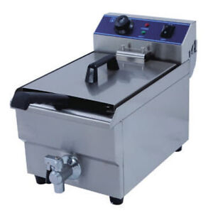NEW COMMERCIAL 17L ELECTRIC DEEP  FRYERS 3KW DRAIN TAPE+ BASKET+ COVER WTY